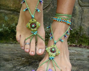 PISTACHIO BAREFOOT sandals green SANDALS crochet beaded foot jewelry beach wedding bohemian gypsy shoes photo shoot props made to order