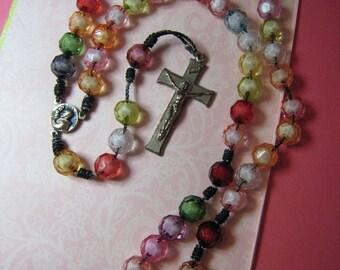 Vintage Beautiful Rainbow Colors Rosary Cross and Saint Giovanni Rotondo