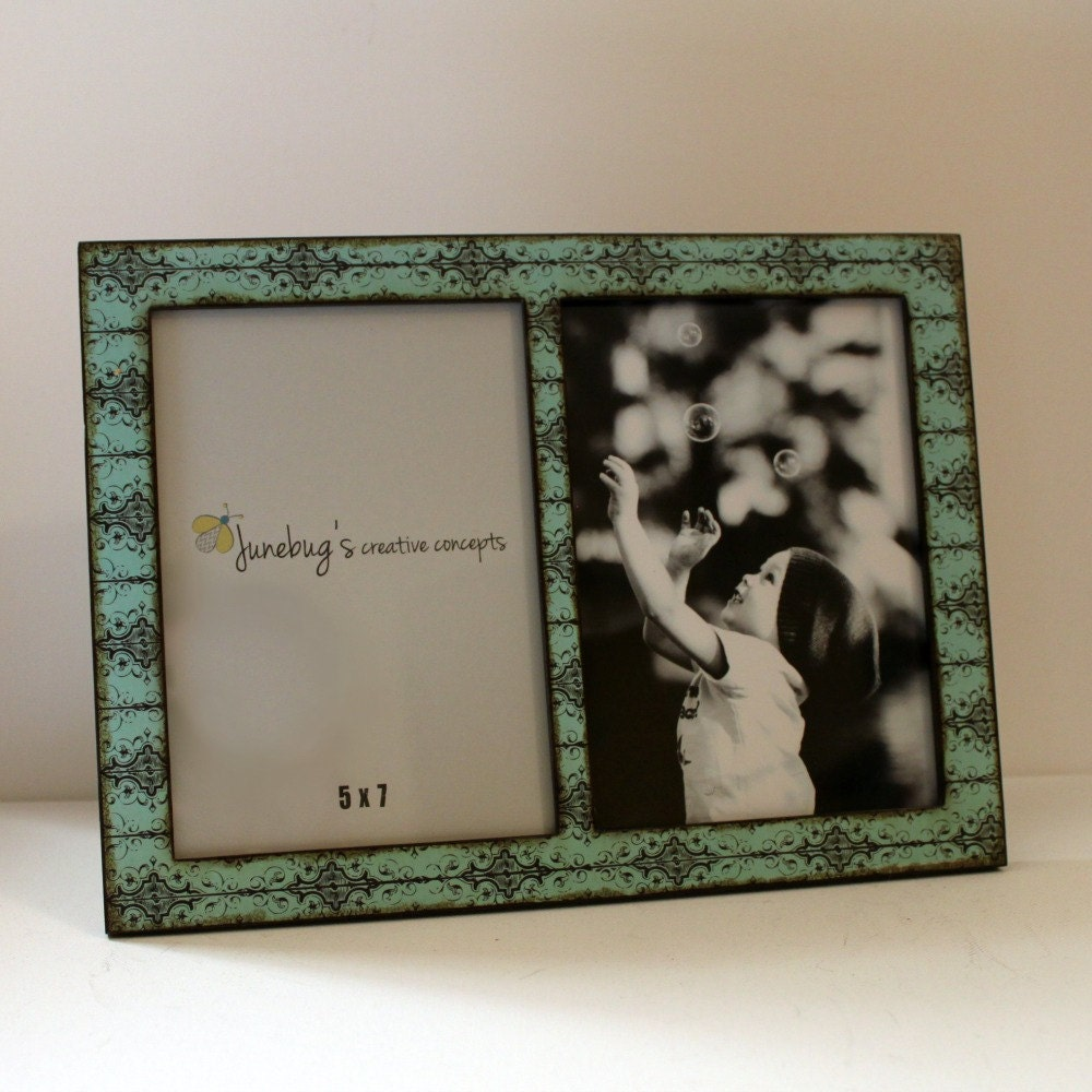 Double 4x6 or 5x7 2 Photo Picture Frame Turquoise Black Scroll from ...