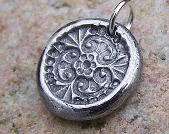 Tiny Flower Garden Pendant, Flower Mandala Charm, Rustic Flower Jewelry, Hand Cast Pewter, Everyday Jewelry