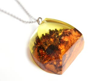 Geometric Resin Wood Necklace with red rock canyon inside; Nature inspired jewelry Boho jewelry Remembrance Gifts for Sister birthday gift