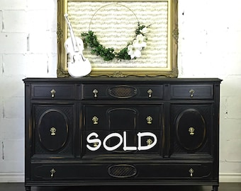 SOLD *************Vintage Hand Painted Black Distressed Server Sideboard Buffet Dresser