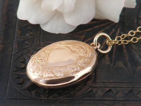 Rose Gold Antique Locket   Edwardian Locket   9ct Gold Back & Front Photo Locket   Small Oval Wedding Locket Necklace - 20 Inch Chain