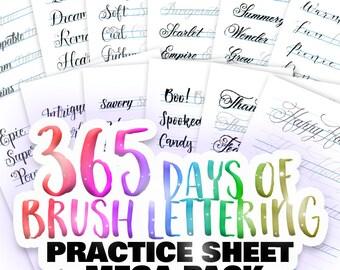 365 Days of Brush Lettering – Practice Sheet Mega Pack