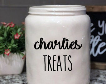 Rae Dunn Inspired Vinyl Decal - Personalized Dog Cat Treat Canister - Cookie Jar Canister - Utensil Jar - Farmhouse