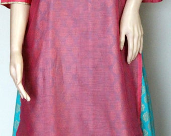 Chanderi layer with Golden printed cotton dress