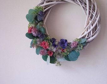 Handmade Felt Floral Willow Wreath // Pink + Purple Roses, Succulents, Eucalyptus // Farmhouse Decor / Country Style Summer Wreath