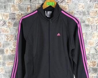 Vintage 90's ADIDAS Trainer Jacket Ladies Outfit Medium Black Adidas Three Stripes Sportswear Adidas Track Top Jacket Size M