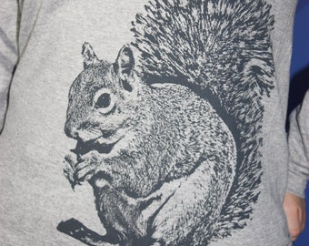 Super Squirrel Long Sleeve TShirt, Gray on Heather Gray - Ladies L