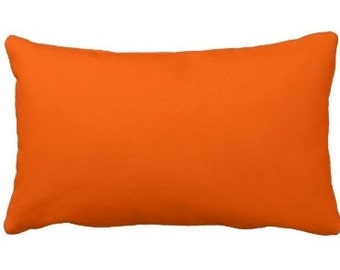 Solid Orange Cotton Decorative Lumbar Pillow Cover - Available In 3 Sizes