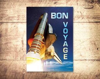 Printable Greeting Card - Instant Download - Bon Voyage Card, Farewell Card, Digital Art