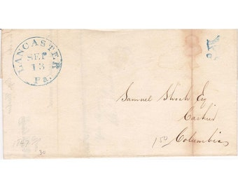 1847 Stampless cover, Lancaster, Pa blue cancellation with blue 5