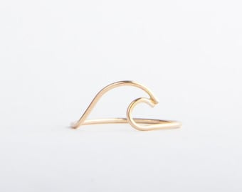 Wave Ring, 14k Gold Filled or Sterling Silver, Beach Jewelry, Handshaped, Ocean Jewelry, Nature