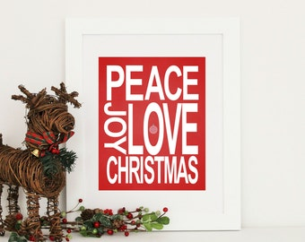 Christmas Decor  Peace Love Joy  Print -  Family Art Print - Custom Colors - Large Sizes
