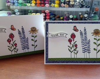 Flower Garden Thank You cards - set of twelve handmade cards