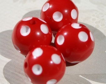 16mm Red and White Polka Dot Round Acrylic Beads  4 Count Rockabilly Cherry Crimson Scarlet Picnic Berry Lightweight Plastic Large Round Fun