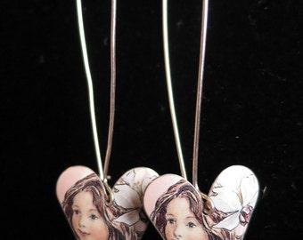 Vintage sterling silver enamel flower fairy heart shaped drops dangle earrings the wild cherry blossom fairy 925 2.18g (10903)