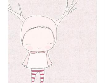A3 Baby Nursery Art - 11x14 Print Baby Girl Nursery - Pink Deer Reindeer Girl