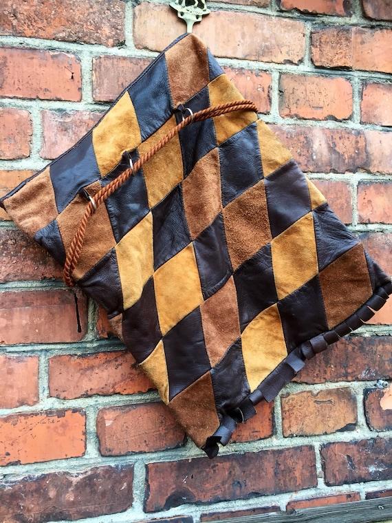 Wanderlust/patchwork/Italian leather/suede/ traveller/ shoulder bag/adjustable cord straps/leather frindge
