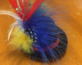 Circus Carnival Top Hat with Feather and Crystal Details.