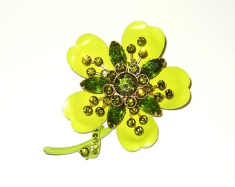 Vintage Book Piece Enamel Rhinestone Flower Power Brooch