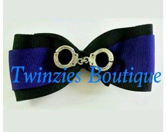Thin Blue Line Police hair bow
