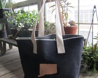 Selvedge indigo denim tote bag (with pocket)