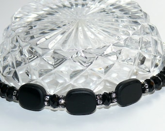 Black Wrist Bling with Sterling Silver Toggle Handmade Ladies Bracelet