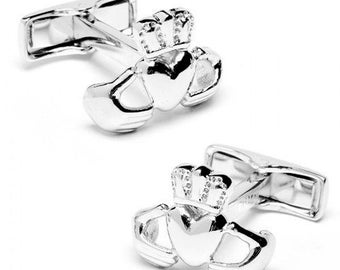 Sterling Silver Irish Claddagh Symbol of Love and Friendship One of a Kind Cufflinks Cuff Links
