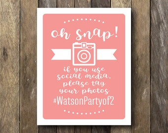 Oh Snap Wedding Sign - Printable Hashtag Sign - Wedding Hashtag Printable - Hashtag Wedding Sign