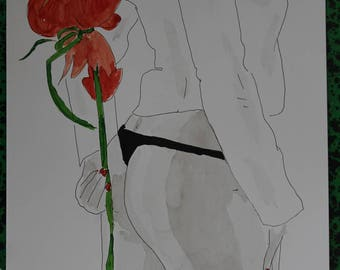 """drawing of nude female erotic """"gift"""""""