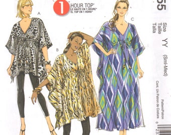 McCalls 5855 Misses Easy Pullover Caftan Tunic Top Pattern Womens Sewing Size Small Medium Bust 31 - 36 OR Lg XL