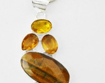 ON SALE: Eye Of The Tiger and Quartz Necklace #13-25