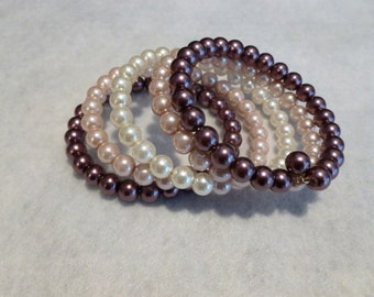 Wire Wrap Bracelet - Soft Pink Pearl Theme