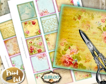 Digital print OLD GARDEN 2x2 inch square - writable tag flower images pendant magnet and craft  - instant download printable image - qu500