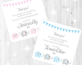 Elephants & Hearts Design Christening/Baptism Thank You Cards - Printed with Envelopes - Pink Blue - Boy Girl - Personalised Stationery
