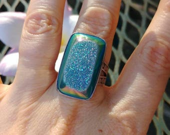 Blue Druzy Sterling Ring Size 7.5 AF925