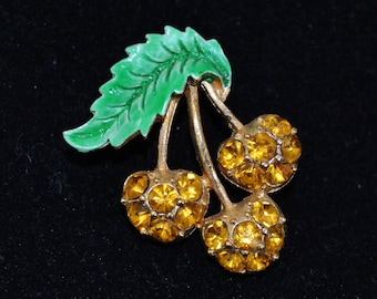 Vintage Cherry Brooch with Yellow Rhinestones and Green Enamel Leaf