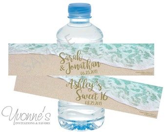 Beach Water Bottle Wrappers - Wedding-Bridal Shower-Birthday-Sweet 16 Beach Themed Event - SET OF 12