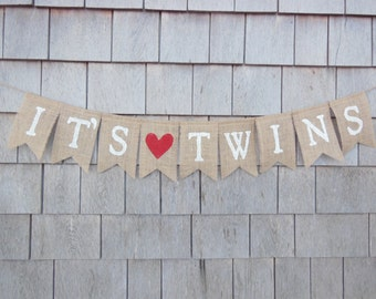 It's Twins Banner, Twins Bunting, Twin Girls, Twin Boys, Burlap Garland, Pregnancy Photo Prop, Gender Reveal, New Baby, Baby Shower Decor
