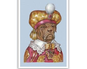Dogue de Bordeaux Art Print - the Sultan - Dog Gifts and Posters - Pet Portraits by Maria Pishvanova