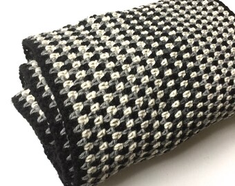 Handmade crochet scarf - Masculine scarf - 100% Woolen scarf - Geometric scarf - Black & white scarf