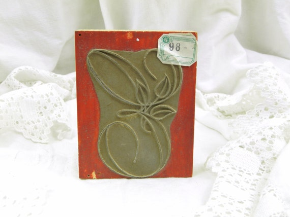 Very Large Unused Antique French Monogram Embroidery Ink Stamp with the Letter E, Retro Vintage French Sewing, Victorian Printing Block