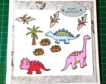 Boys Dinosaur Happy Birthday Card