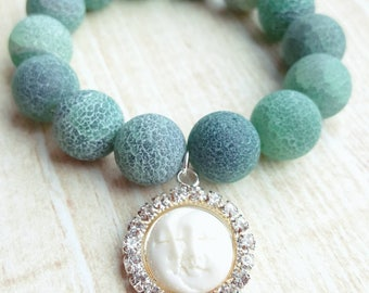 Agate Bead Bracelet with Moon and Sun Face