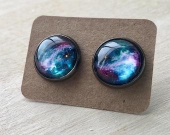 Galaxy Earrings//Space Earrings//Galaxy Studs//Colorful Earring Studs//Space Jewelry//Green//Purple//Blue//Pink
