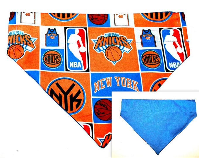 NY KNICKS ~ Over the Collar ~ Reversible ~ Dog Pet Bandana ~ Bell Art Designs ~ Large DCL0115