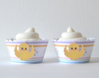 Easter Surprise Cupcake Wrappers Set of 12: holiday, chick, pastels, spring - LRD005CW