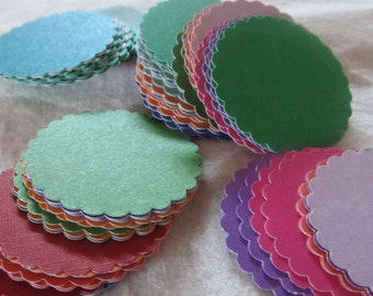 "1"" SCALLOPED CIRCLES-- colored cardstock -- assorted colors (lot of 90 pieces)"