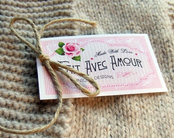 """Care Tags """"Fait Avec Amour""""  Super Elegant & Vintage Styles  - 300 DPI – 2 x 3-1/2"""" – Vector PDF, PNGs, and JPGs - Beautiful Printables"""